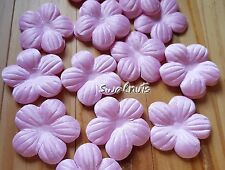 25pcs PINK Fabric Faux Silk Flowers Applique Patch Sew on Wedding Lace