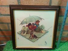 Norman Rockwell Picture Fisherman's Paradise Boys Fishing Trip Umbrella Dog
