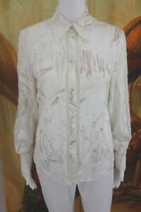 ESCADA Embroidered Floral Print Button Down ~Size 36/ US 6~