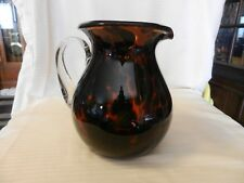 Brown Amber Glass Pitcher With Clear Handle, Leopard Spots Motif