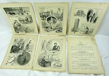 1890s Antique Print LOT 6 Book Plate Etchings Urban Life & Art Illustrations