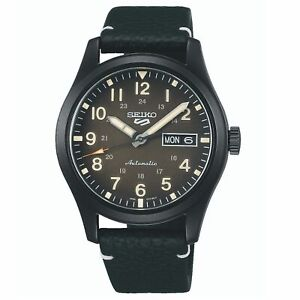 Seiko 5 Sports Field Collection Automatic Black Dial Leather Mens Watch SRPG41K1