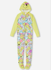 NWT JUSTICE Girls Hooded Emoji 1Piece Pajama Girl PJ Removable Footies Size16/18