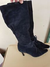 BOXED BLACK SUEDE ROBERTO VIANNI KNEE HIGH BOOTS UK SIZE 5 -5.5  EURO 38