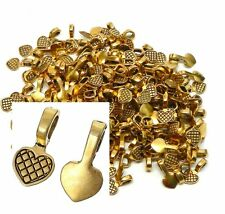 5 Glue on Heart Bails Pendant Hanger Gold Tone Plated 16x8mm