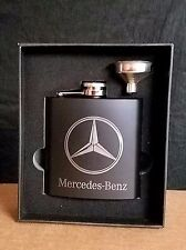 Etched 6 oz. Flask Matte Black Funnel Gift Box,MERCEDES-BENZ, FREE SHIPPING