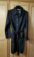 Chicos Platinum Womens Dark Denim Blue Jean Pocket Button Shirt Dress SZ 4 Reg