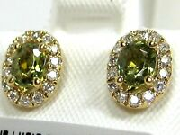 Tsavorite Garnet Earrings 14K yellow Gold Halo Diamond Natural Heirloom A $1,923