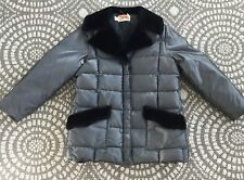 Vintage Comfy Coat Winter Jacket Puffer Gray Quilted Faux  Fur Unisex  XL 1970s