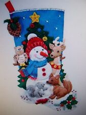 "18"" BUCILLA WOODLAND SNOWMAN ANIMALS FELT EMBROIDERY BEAD CHRISTMAS STOCKING KIT"