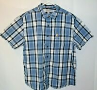 Carhartt Button Down Shirt Mens 2XL Blue Plaid Short Sleeve Casual Relaxed Fit