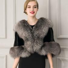 Elegant Women's Faux Fox Fur Shawl Shrug Weddings Wrap Cape Robe Evening Coat