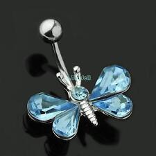 BLUE CRYSTAL amore cuore in oro ombelico pancia Anello Bar Barbell Stud Button britannica di vendere