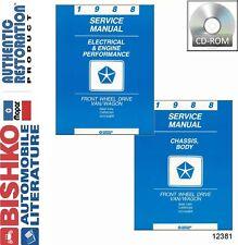 1988 Dodge Caravan Plymouth Voyager Shop Service Repair Manual DVD Drivetrain OE