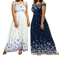 Women Plus Size Bohemian Boho Dress Long Party Maxi Floral Chiffon Casual Summer