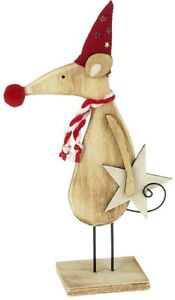 Heaven Sends Wooden Mouse in Hat and Scarf Standing Christmas Decoration