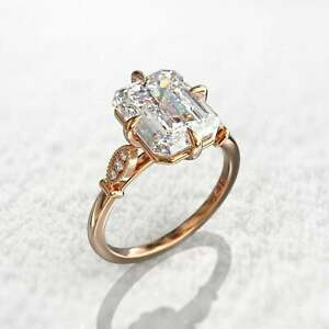 2Ct Emerald Cut Diamond Women's Solitaire Engagement Ring 14k Rose Gold Finish