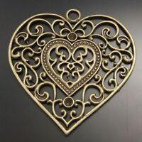 6pcs antiqued bronze flower and bir charm G424