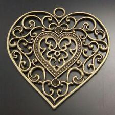 02410 Antiqued Bronze Vintage Alloy Hollow Flower Heart Charms Pendant 6PCS