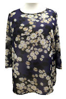 Womens Ladies Plus size Summer Tunic Top Dark Purple Floral Print Sofo Curves