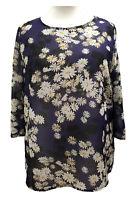 Womens Ladies Plus size Summer Tunic Top Dark Purple Floral Print Sofo Curves