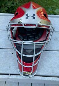 Under Armour Senior Baseball Catcher's Helmet Scarlet RED Size 7 - 7 3/4 UAHG-A