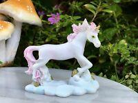 Miniature Dollhouse FAIRY GARDEN ~ Mini Standing White & Pink Unicorn ~ NEW