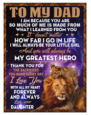 Lion blanket to my Dad, My greatest Hero, Your Daughter, Fleece, Quilt Blanket