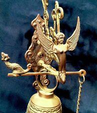 Vintage Brass Bell W/ Victorian Style Angel Animals Latin Inscription Nice Ring