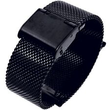 18mm Stainless Steel  Mesh Milanese Watch Band Bracelet Color Black  IPG