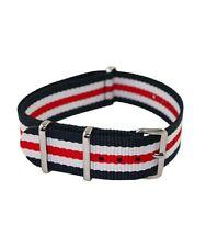 Bracelet Montre Nato (Nylon) Tricolore bleu blanc rouge 20mm