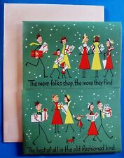 Vintage Christmas Card UNUSED MCM Stick People Men Lady Dress Shopping Gifts