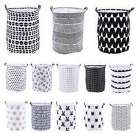 Home Canvas Washing Clothing Laundry Basket Storage Bag Hamper Kid Toy Holder