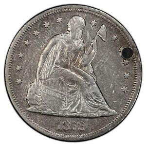 1872 Seated Liberty Dollar - PCGS GENUINE AU Details - Plugged
