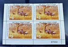 Us 1987 $5 Wild Turkey Plate Block Of Four Stamps Mnh Free Shipping!