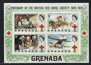 1970 Grenada Scott #398b (SG #427a) - QEII Red Cross Imperf S/S Error - MNH