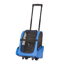 Blue Pet Carrier Dog Cat Rolling Backpack Travel Tote Airline Crate Luggage Bag
