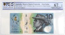 AUSTRALIA 2017 $10 Ten DOLLARS PCGS 67 UNCIRCULATED SUPER GEM OPQ Currency Note