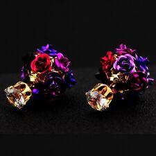 ED39 Metallic Flower Ball Double Sided Crystal Earrings Fuchsia Pink Teal Blue
