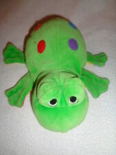 """Frog Green hand glove puppet colorful spots feet yellow belly 9"""" Plush toy"""