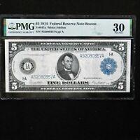 1914  $5 Federal Reserve Note Boston, Fr # 847a, PMG 30 Very Fine, White/Mellon