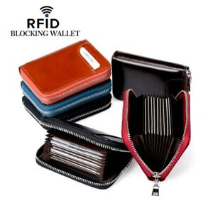 Mens Leather Zipper Slim Wallet RFID Blocking Credit Card Holder Thin Purse