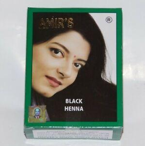 AMIR'S BLACK HAIR COLOUR WITH HENNA, 12 POUCHES, 10 GRAMS EACH, BRAND NEW INDIA.