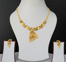 South Indian Jewelry Gold Plated Necklace Earrings Antic Design Lovable Set f88