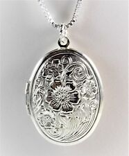 """Great Gift Silver Floral Pattern Locket .925 Box Chain 17"""" Mother's Day 2041"""