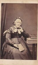 ANTIQUE CDV PHOTOGRAPH,  OLDER SEATED LADY WITH BOOK. LEEK STUDIO