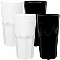 Set of 6 Black & White 300ml Hi-Ball Tumblers Bar Drinks Reusable Party Glasses