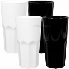 Set of 6 Black & White 300ml Hi-Ball Tumblers Bar Drinks Reusable Party Glasses