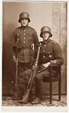 1930s LATVIA 2 Soldiers in Uniform with RIFLES and REGIMENTAL BADGE Photo, Riga