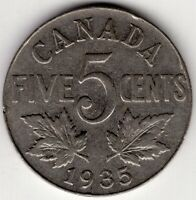 1935 CANADA FIVE 5 CENT NICKEL KING GEORGE V COIN
